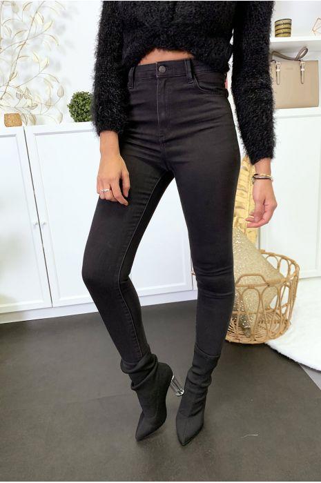 Jeans noir en taille haute extensible avec poches