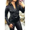 Black satin wrap-style blouse. F21