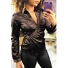 Satin brown wrap-style blouse. F21