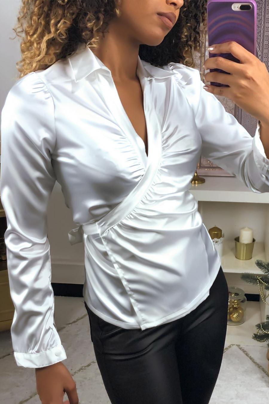 White satin wrap-style blouse. F21