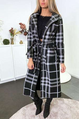 Long manteau à carreaux noir et gris avec capuche poches et ceinture