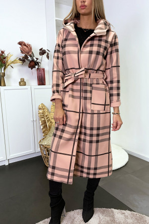 Lange roze en zwarte geruite jas met capuchon, zakken en riem