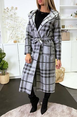 Lange grijs met zwart geruite jas met capuchon, zakken en riem