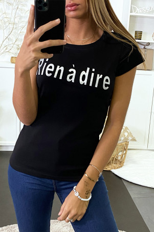 Black T-shirt with Rien à dire writing