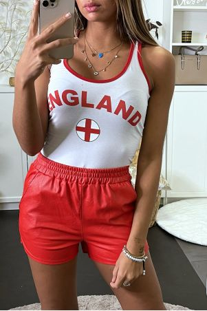 "Top débardeur blanc supporter ""ENGLAND"""