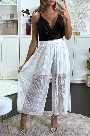 Pantalon blanc en tulle à motif plumetis avec doublure short