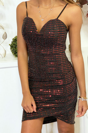 Red sequined dress with sequin and lace at the back