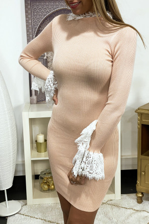 Pink ribbed knit sweater dress with lace sleeves