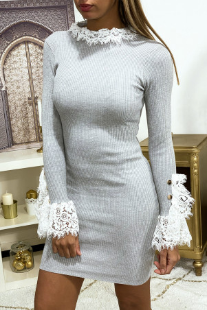 Gray ribbed knit sweater dress with lace sleeves