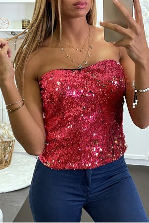 Fushcia sequined evening bustier