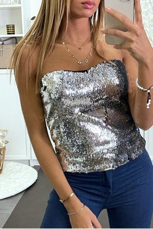 Multicolor sequined evening bustier