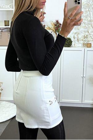 Wit gevoerde minirok met ringen