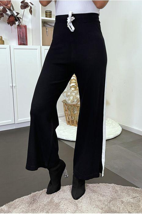 Pantalon palazzo fluide noir avec bande blanche