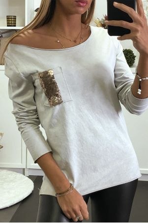 Gray long sleeve top with sequin pockets