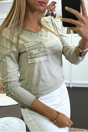 Khaki long sleeve top with sequin pocket