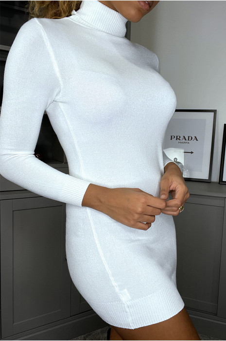 White silk tunic sweater with turtleneck.