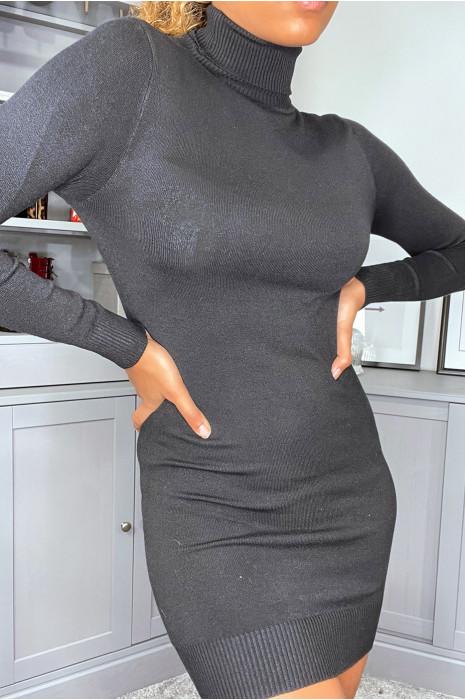 White silk tunic sweater with turtleneck.