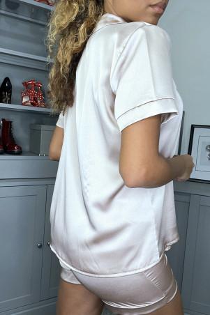 Satin beige pajama set with boyshorts and blouse