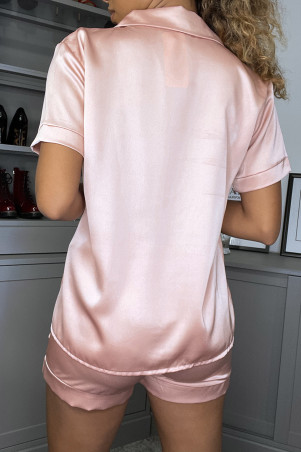 Pink satin pajamas set with boyshorts and blouse