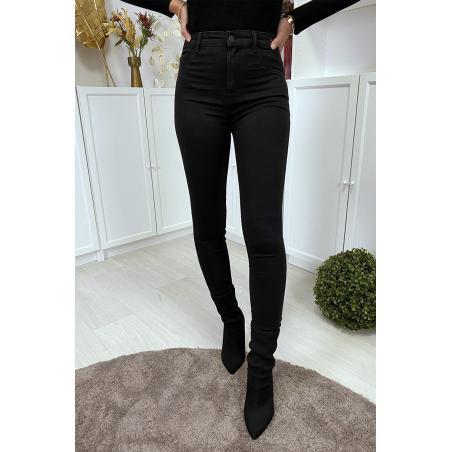 Jean slim noir taille haute à poches arrières