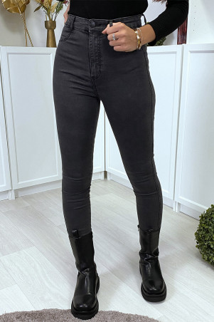 Faded black high waist slim jeans