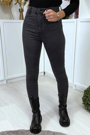 Vervaagde zwarte slimfit jeans met hoge taille
