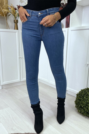 Jean slim bleu clair à poches effet push up