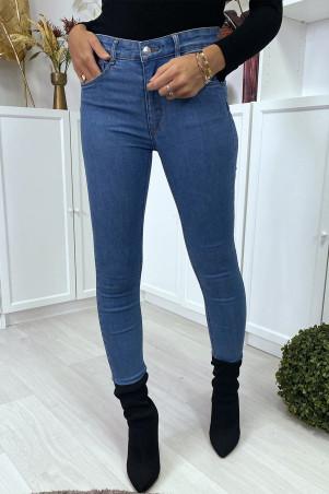Lichtblauwe slimfit jeans met zakken met push-up effect