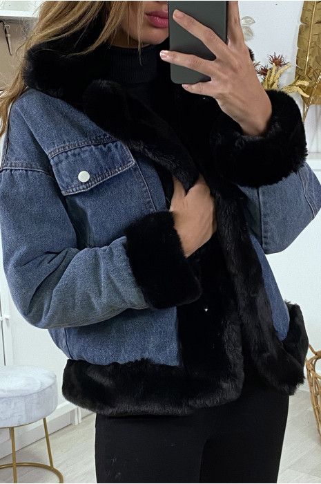 Veste en jean noir à fausse fourrure camel