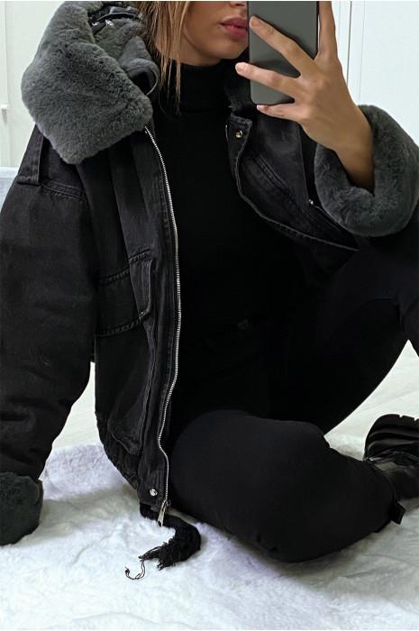 Veste en jean noire à fausse fourrure noire et capuche