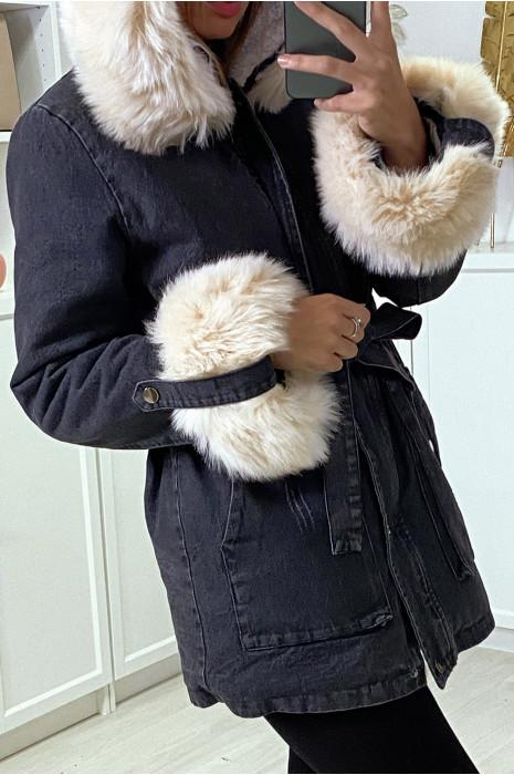 Veste en jean noire longue à fausse fourrure beige et capuche