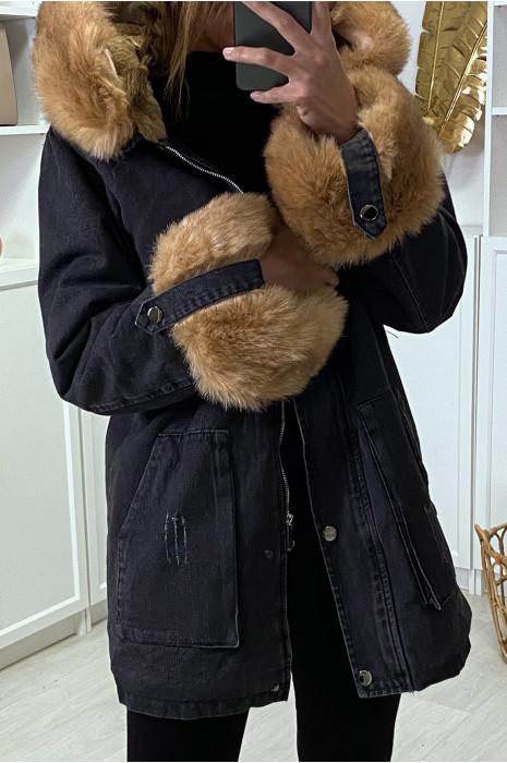 Veste en jean noire longue à fausse fourrure camel et capuche