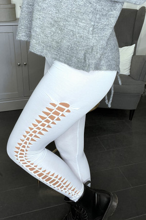 White leggings open on the sides. V2131B
