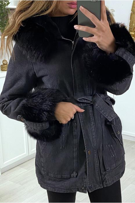 Long black denim jacket with camel faux fur and hood