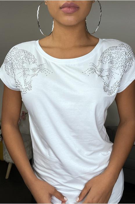 T-shirt blanc à strass et zip au dos
