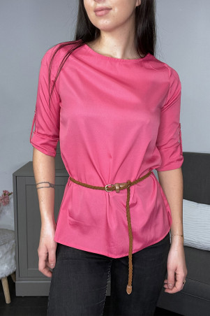 Fuchsia satin blouse with belt
