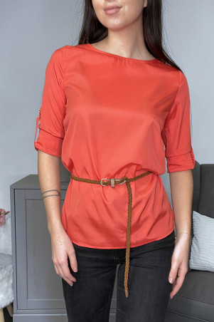 Red satin blouse with belt