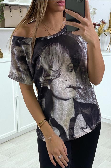 Teeshirt rose oversize à imprimé fashion