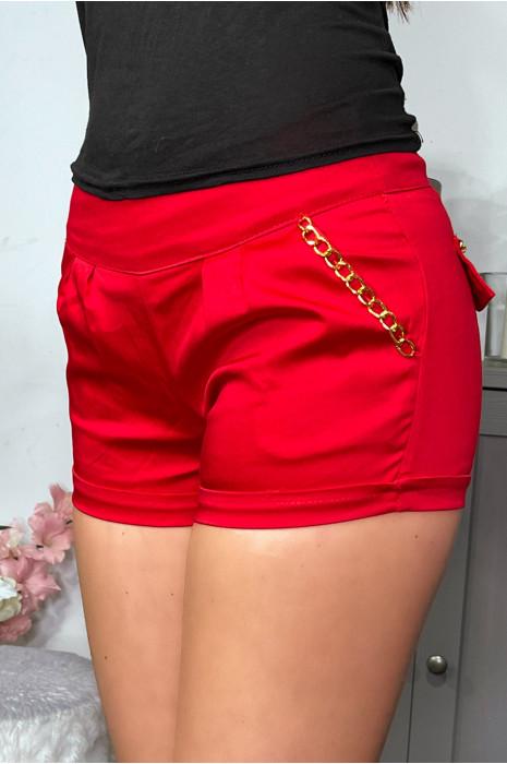 Mini short noir à chaîne sur les poches