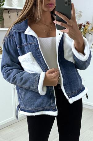 Veste en jean moumoute et poches blanche