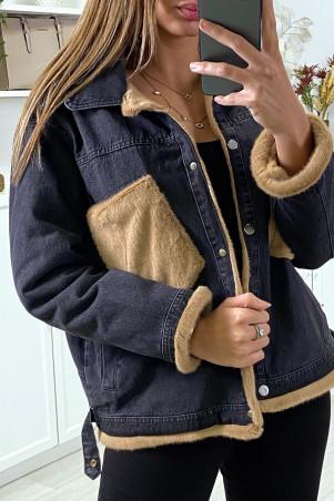 Veste en jean moumoute noir et poches camel