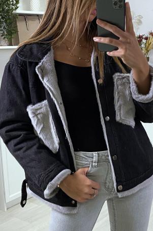 Veste en jean moumoute noir et poches grise