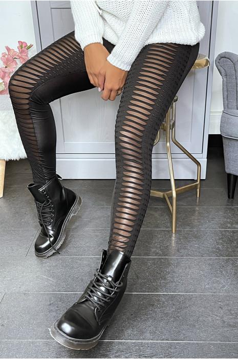 Legging jacquard noir transparent à l'avant et simili à l'arrière