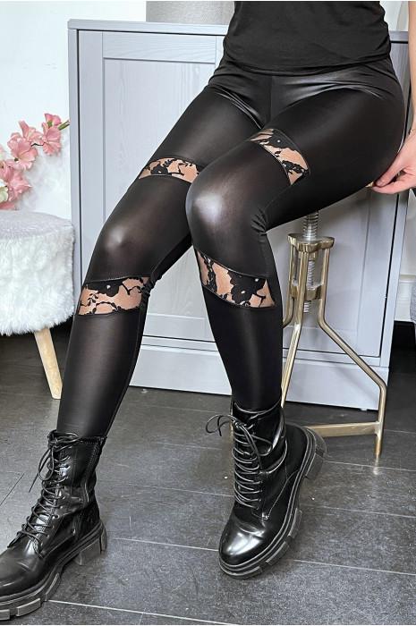 Leggings noir matière brillante et extensible avec dentelles aux jambes