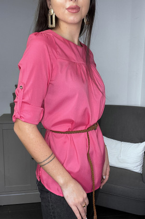 Fuchsia blouse tuniek 3/4 mouwen en gevlochten riem