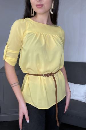 Tunique blouse jaune manches 3/4 et ceinture tressée