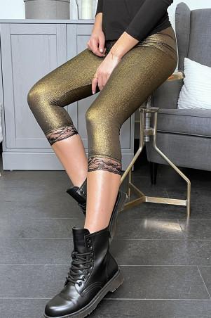 Legging doré irisé à dentelle