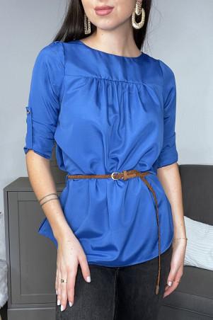 Tunique blouse bleue manches 3/4 et ceinture tressée