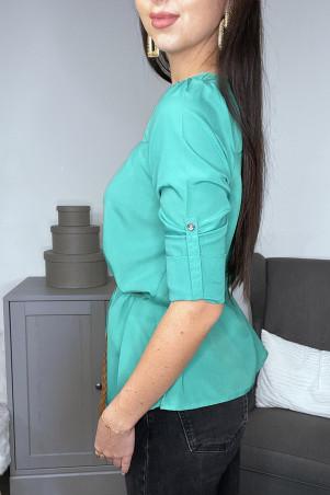 Tunique blouse verte manches 3/4 et ceinture tressée