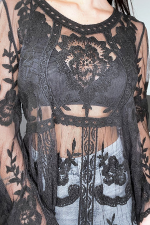 Black transparent bohemian style tunic in openwork lace